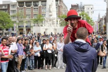 Fire juggling on Dam Square